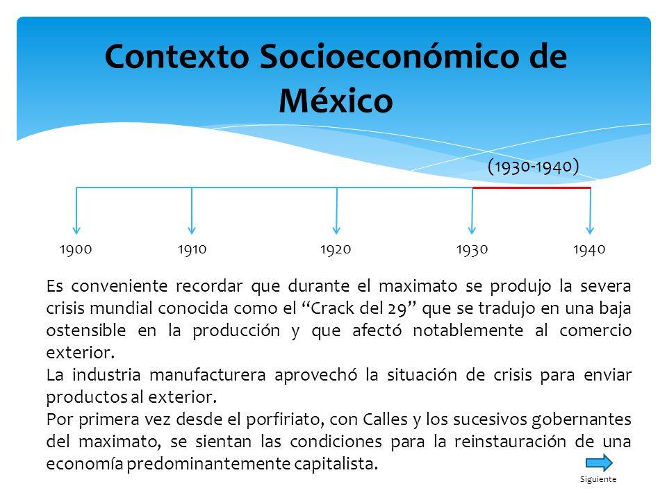 Contexto Socioeconómico de México 19001940191019301920 (1930-1940) El Plan Sexenal serviría para consumar la obra iniciada por Calles para modernizar al país y lograr el desarrollo de la economía capitalista, que implicaba la consolidación del Estado mexicano.