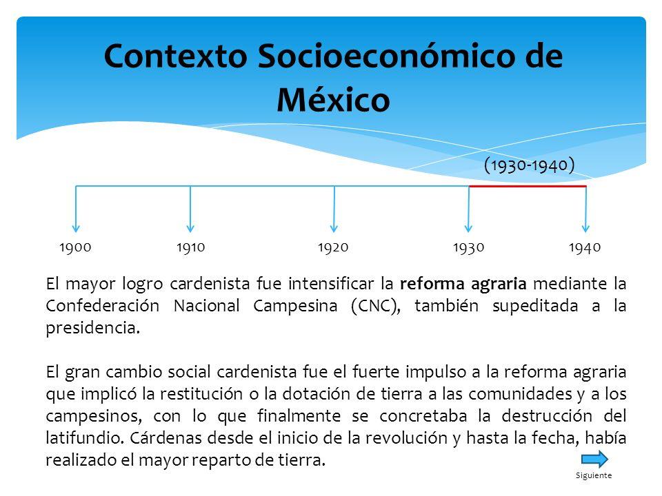 Contexto Socioeconómico de México 19001940191019301920 (1930-1940) En cuanto a su postura internacional, Cárdenas se identificaba claramente con el antifascismo y ése era uno de los puntos más sólidos de su política interamericana, lo que explica la facilidad con lo que logró la expropiación de la industria petrolera, Menú Principal