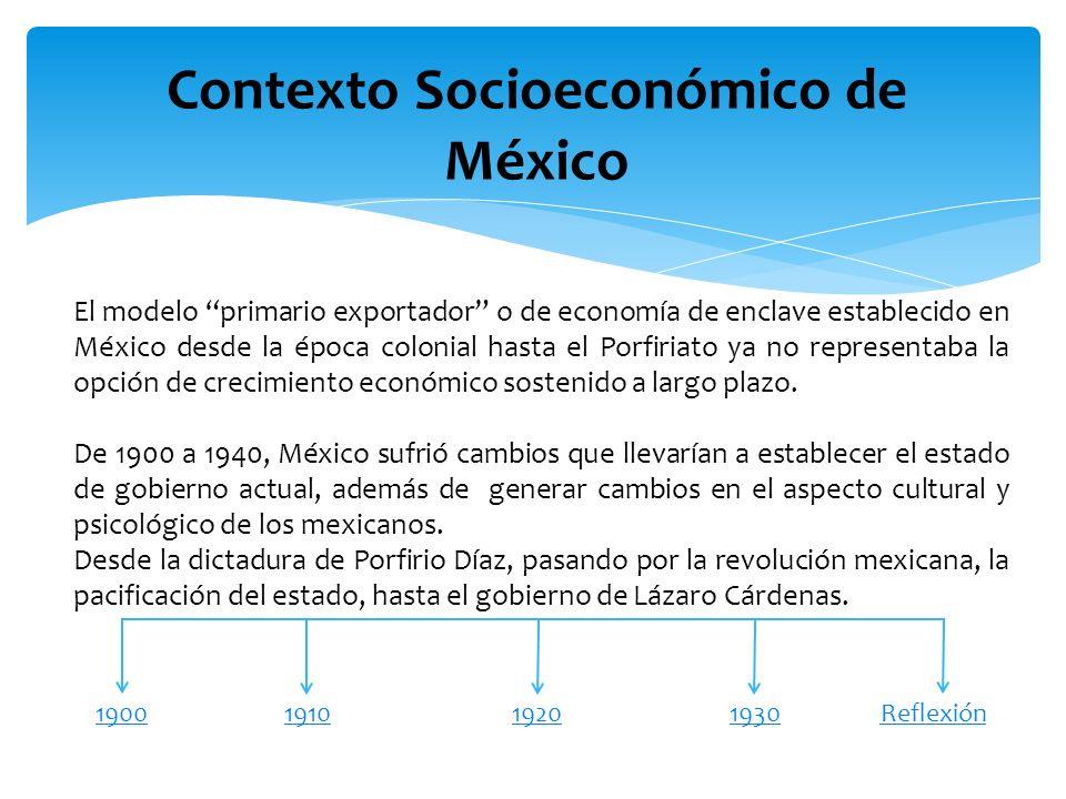 Contexto Socioeconómico de México 19001940191019301920 (1900-1910) Desde que entro al gobierno Porfirio Díaz en 1876 fue electo como presidente 7 veces, se establece una dictadura en la cual, las comunidades indígenas perdieron sus tierras, los que se revelaban en contra del gobierno eran fusilados (había explotación y abuso a los campesinos).