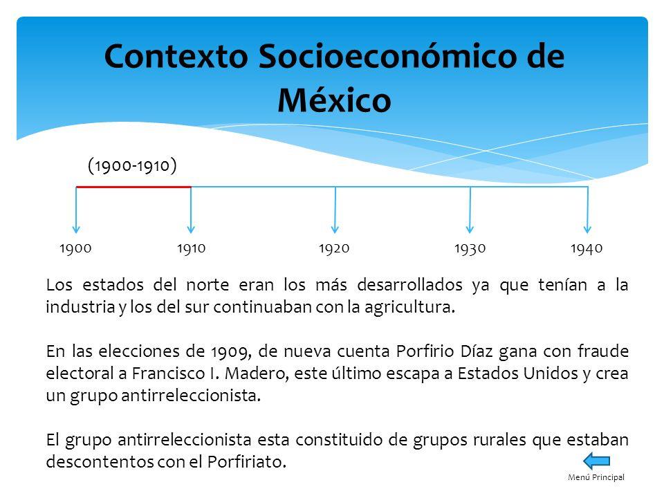 Contexto Socioeconómico de México 19001940191019301920 (1910-1920) Esta década esta llena de cambios desde Estados Unidos se promulga el Plan de San Luis en donde se establece el inicio de la Revolución Mexicana el 20 de noviembre de 1910, bajo el lema de sufragio efectivo no reelección En materia económica, el país empezó a desestabilizarse, fue difícil derrotar al gobierno de Porfirio Díaz, ya que contaba con el apoyo de Estados Unidos, debido a que permitía las inversiones extranjeras en el país.