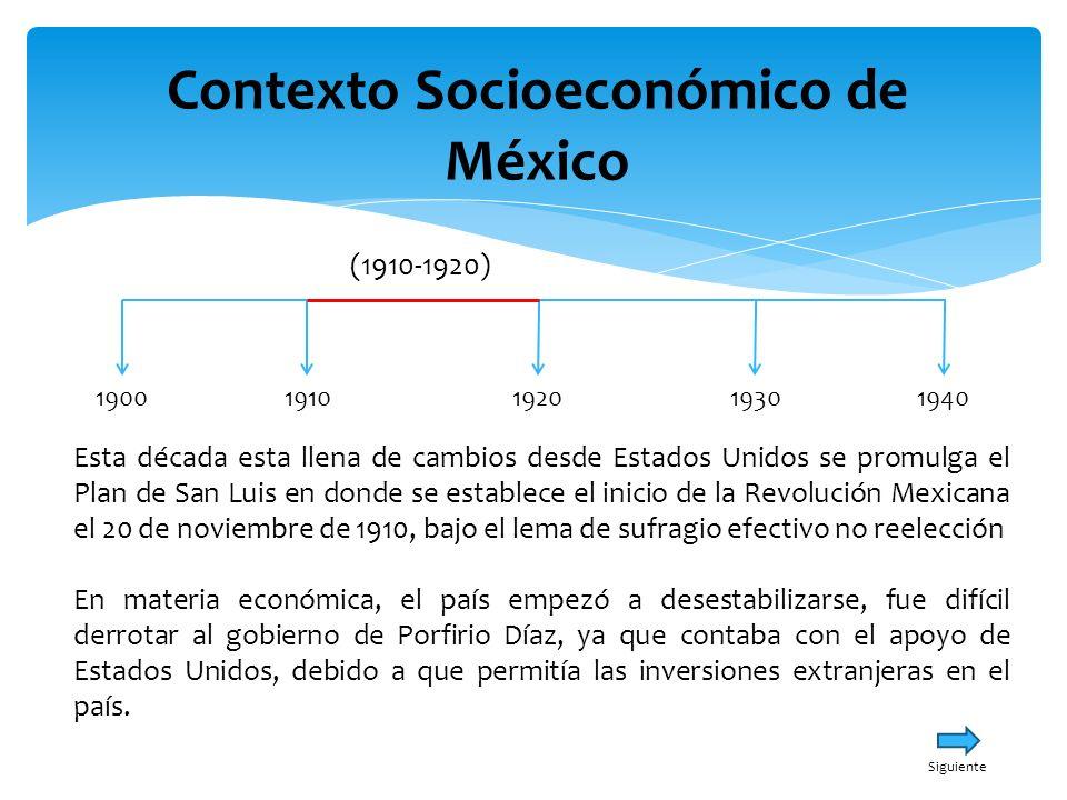 Contexto Socioeconómico de México 19001940191019301920 (1910-1920) Desafortunadamente los líderes de la Revolución Mexicana como: Zapata, Villa, Carranza, Madero; no tenían la misma ideología cada uno buscaba sus propios intereses.