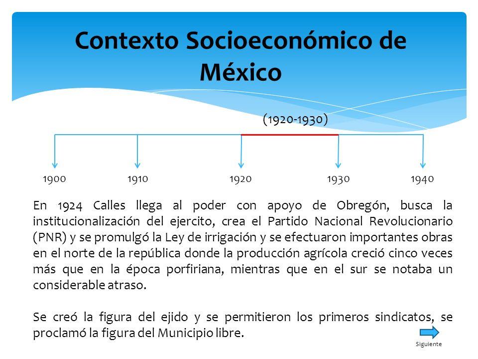 Contexto Socioeconómico de México 19001940191019301920 (1920-1930) En 1924 Calles llega al poder con apoyo de Obregón, busca la institucionalización d