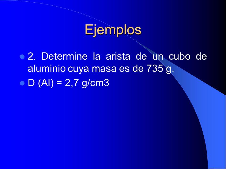Ejemplos 2. Determine la arista de un cubo de aluminio cuya masa es de 735 g. D (Al) = 2,7 g/cm3