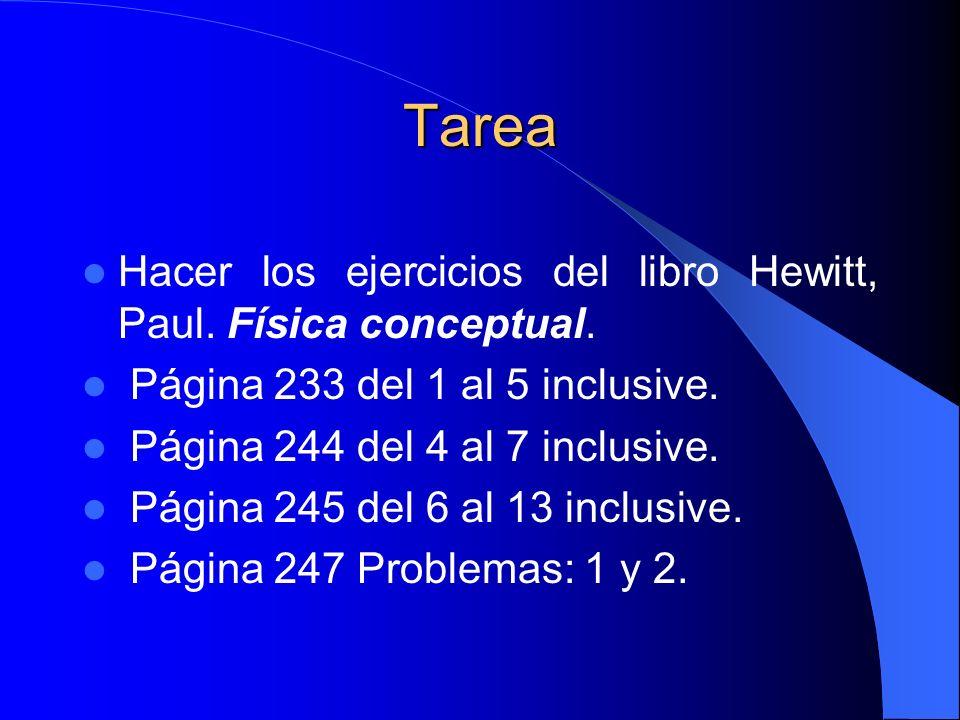 Tarea Hacer los ejercicios del libro Hewitt, Paul. Física conceptual. Página 233 del 1 al 5 inclusive. Página 244 del 4 al 7 inclusive. Página 245 del