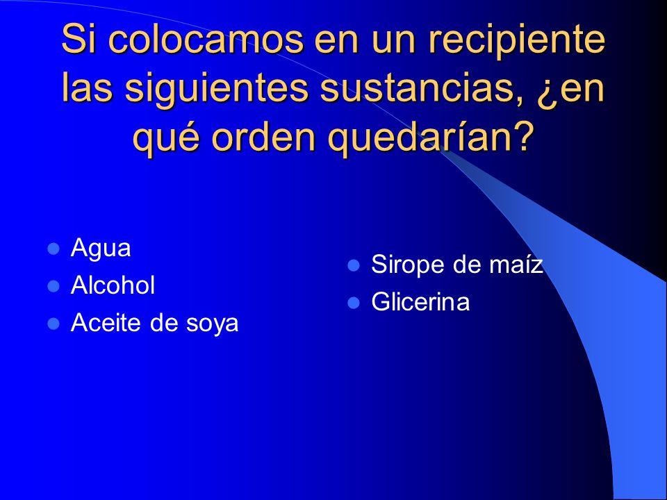Si colocamos en un recipiente las siguientes sustancias, ¿en qué orden quedarían? Agua Alcohol Aceite de soya Sirope de maíz Glicerina