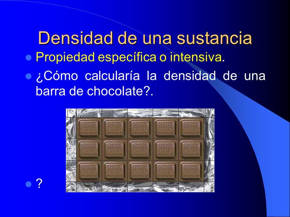 Densidad de una sustancia Propiedad específica o intensiva. ¿Cómo calcularía la densidad de una barra de chocolate?. ?