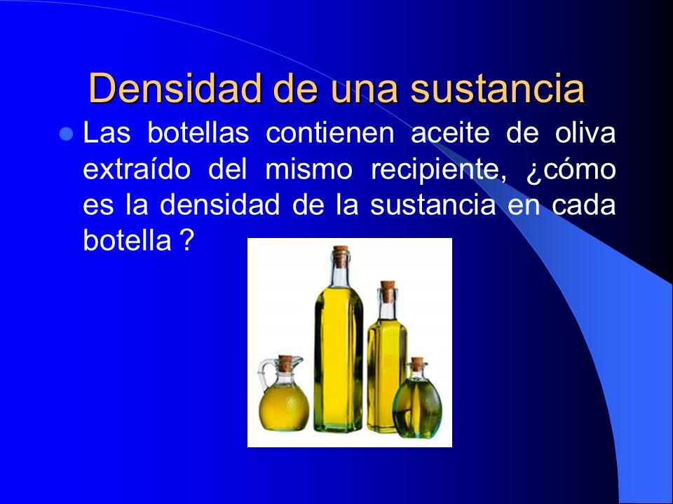 Densidad de una sustancia Las botellas contienen aceite de oliva extraído del mismo recipiente, ¿cómo es la densidad de la sustancia en cada botella ?