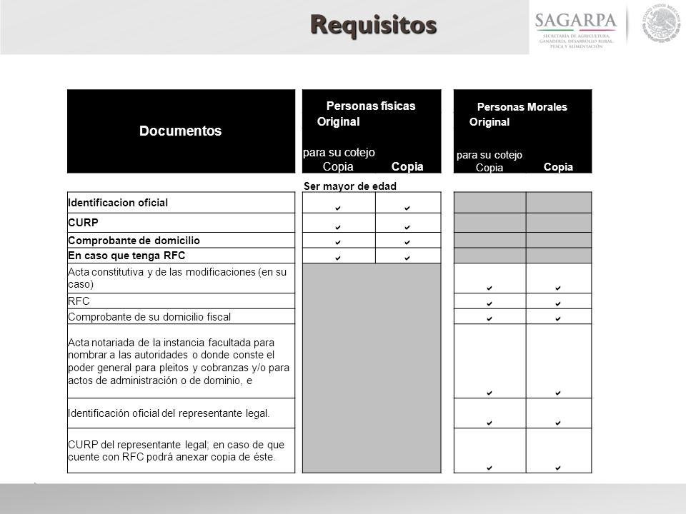 Requisitos Documentos Personas físicas Personas Morales Original Copia Original Copia para su cotejo Copia Ser mayor de edad Identificacion oficial CU