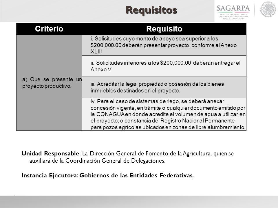 Requisitos CriterioRequisito a) Que se presente un proyecto productivo. i. Solicitudes cuyo monto de apoyo sea superior a los $200,000.00 deberán pres