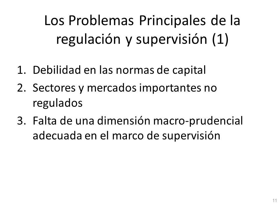 Los Problemas Principales de la regulación y supervisión (1) 1.Debilidad en las normas de capital 2.Sectores y mercados importantes no regulados 3.Fal