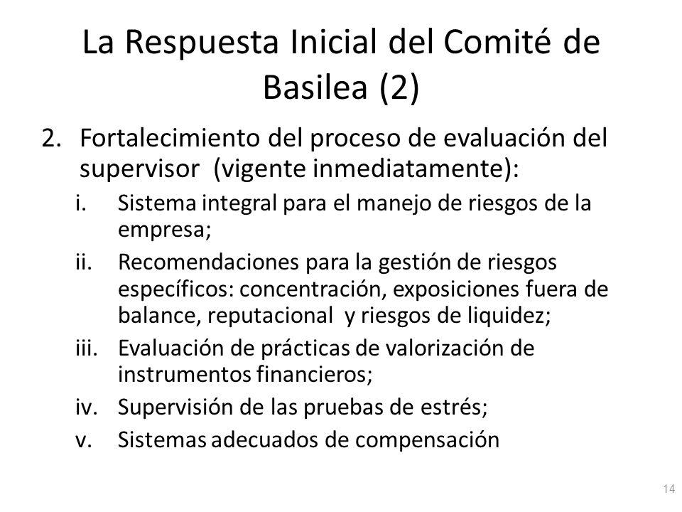 La Respuesta Inicial del Comité de Basilea (2) 2.Fortalecimiento del proceso de evaluación del supervisor (vigente inmediatamente): i.Sistema integral