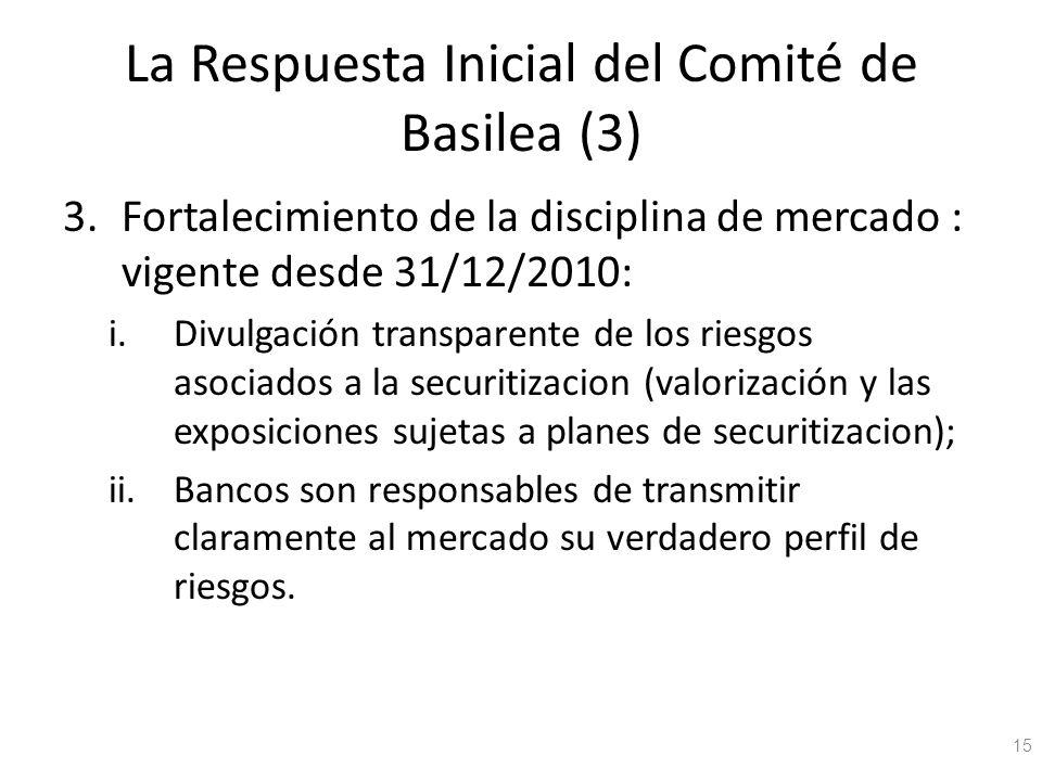 La Respuesta Inicial del Comité de Basilea (3) 3.Fortalecimiento de la disciplina de mercado : vigente desde 31/12/2010: i.Divulgación transparente de