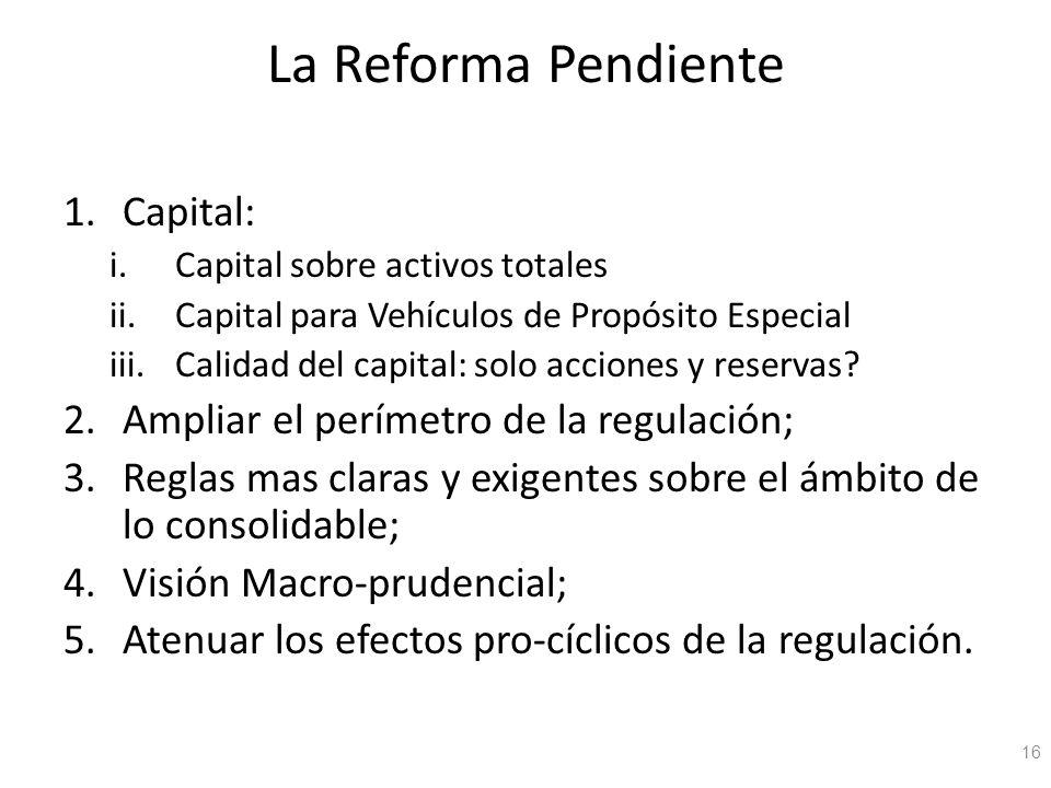 La Reforma Pendiente 1.Capital: i.Capital sobre activos totales ii.Capital para Vehículos de Propósito Especial iii.Calidad del capital: solo acciones