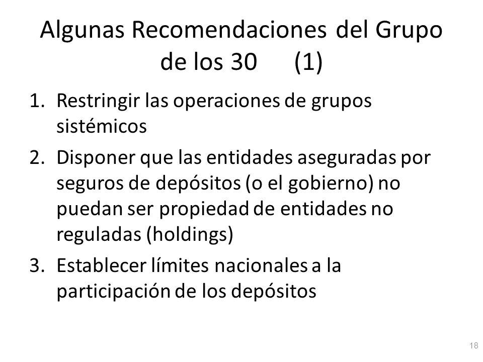 Algunas Recomendaciones del Grupo de los 30 (1) 1.Restringir las operaciones de grupos sistémicos 2.Disponer que las entidades aseguradas por seguros