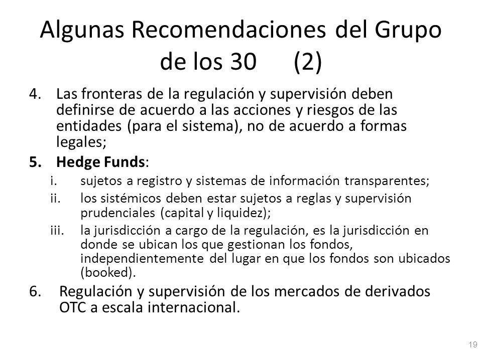 Algunas Recomendaciones del Grupo de los 30 (2) 4.Las fronteras de la regulación y supervisión deben definirse de acuerdo a las acciones y riesgos de