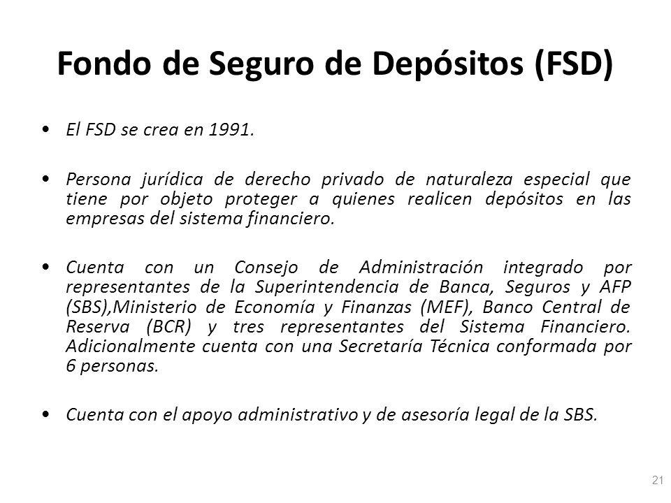 Fondo de Seguro de Depósitos (FSD) El FSD se crea en 1991. Persona jurídica de derecho privado de naturaleza especial que tiene por objeto proteger a