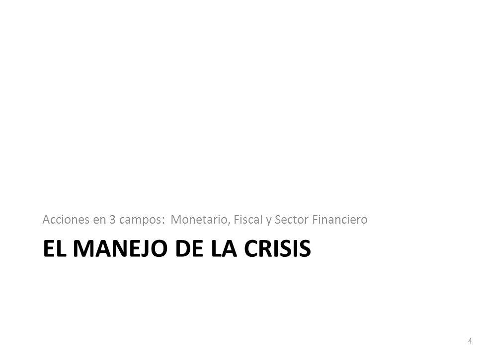 EL MANEJO DE LA CRISIS Acciones en 3 campos: Monetario, Fiscal y Sector Financiero 4