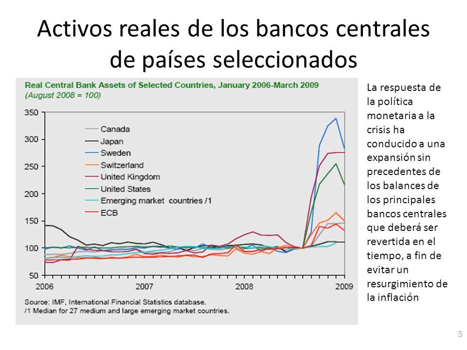 Activos reales de los bancos centrales de países seleccionados 5 La respuesta de la política monetaria a la crisis ha conducido a una expansión sin pr