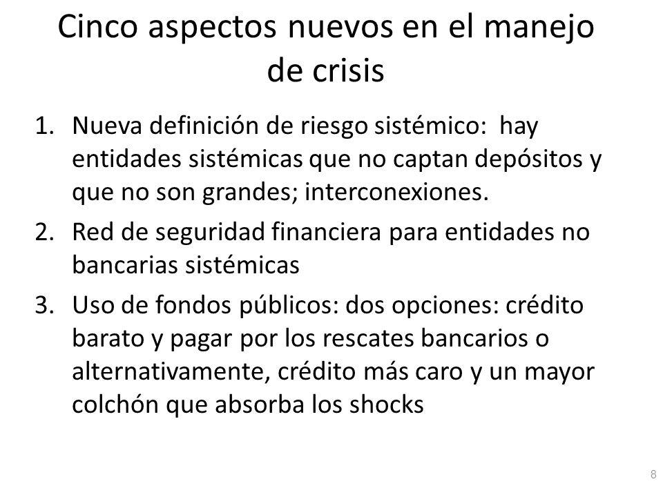 Cinco aspectos nuevos en el manejo de crisis 1.Nueva definición de riesgo sistémico: hay entidades sistémicas que no captan depósitos y que no son gra