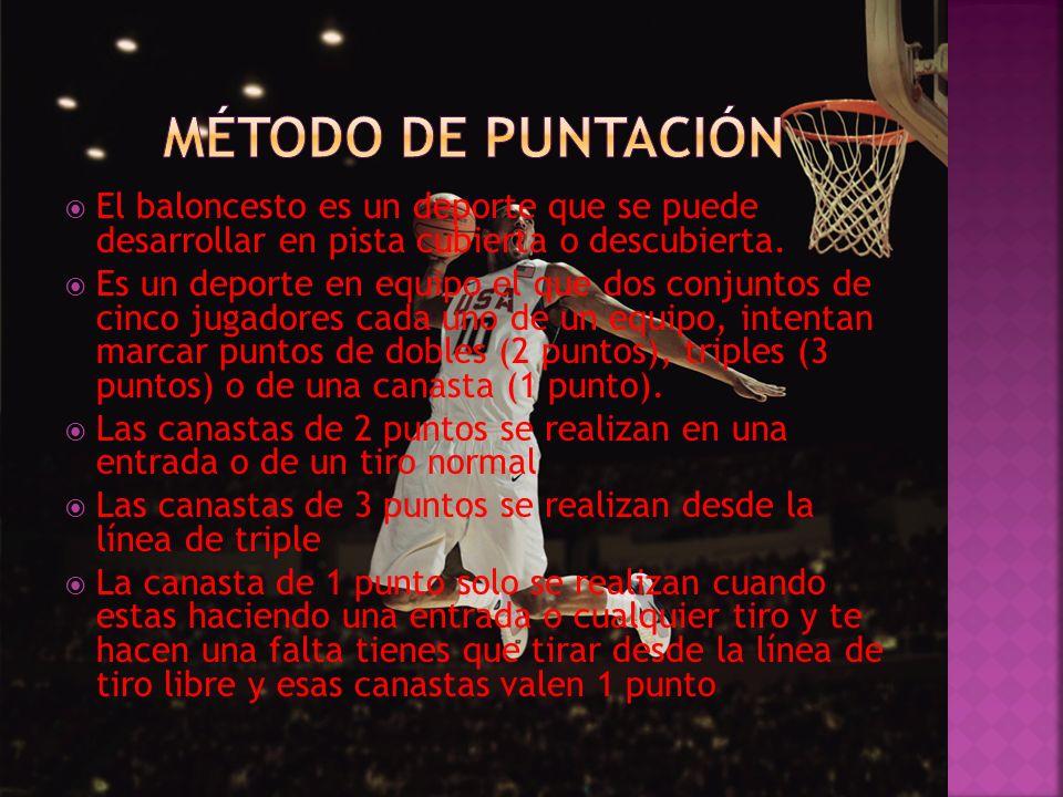El baloncesto es un deporte que se puede desarrollar en pista cubierta o descubierta. Es un deporte en equipo el que dos conjuntos de cinco jugadores
