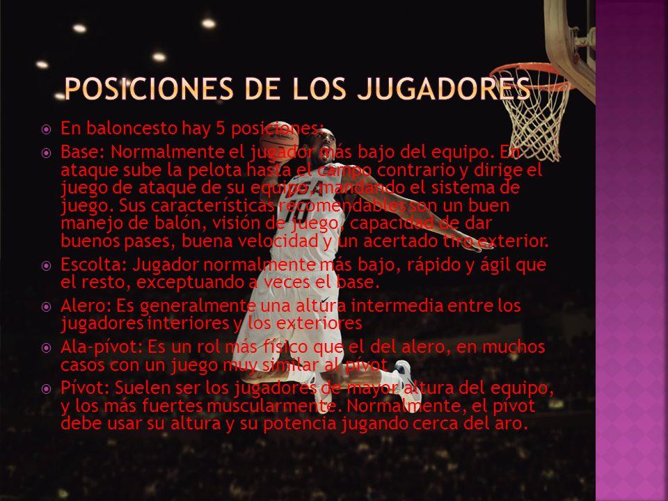 En baloncesto hay 5 posiciones: Base: Normalmente el jugador más bajo del equipo. En ataque sube la pelota hasta el campo contrario y dirige el juego