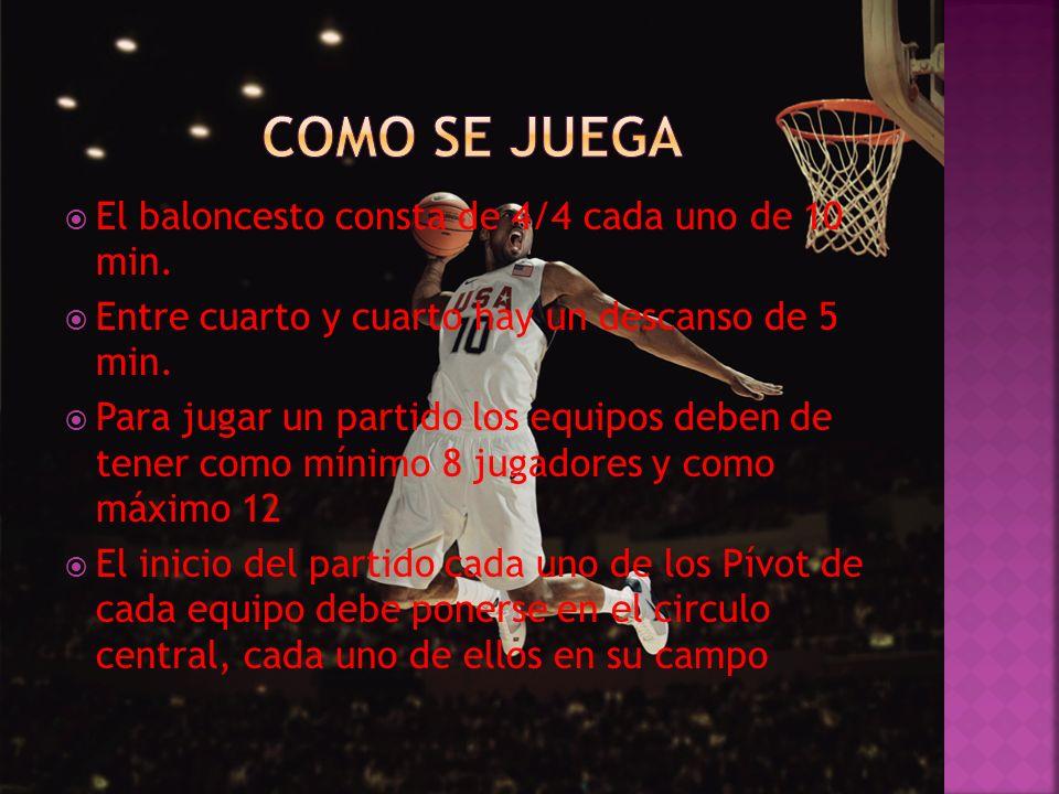 El baloncesto consta de 4/4 cada uno de 10 min. Entre cuarto y cuarto hay un descanso de 5 min. Para jugar un partido los equipos deben de tener como