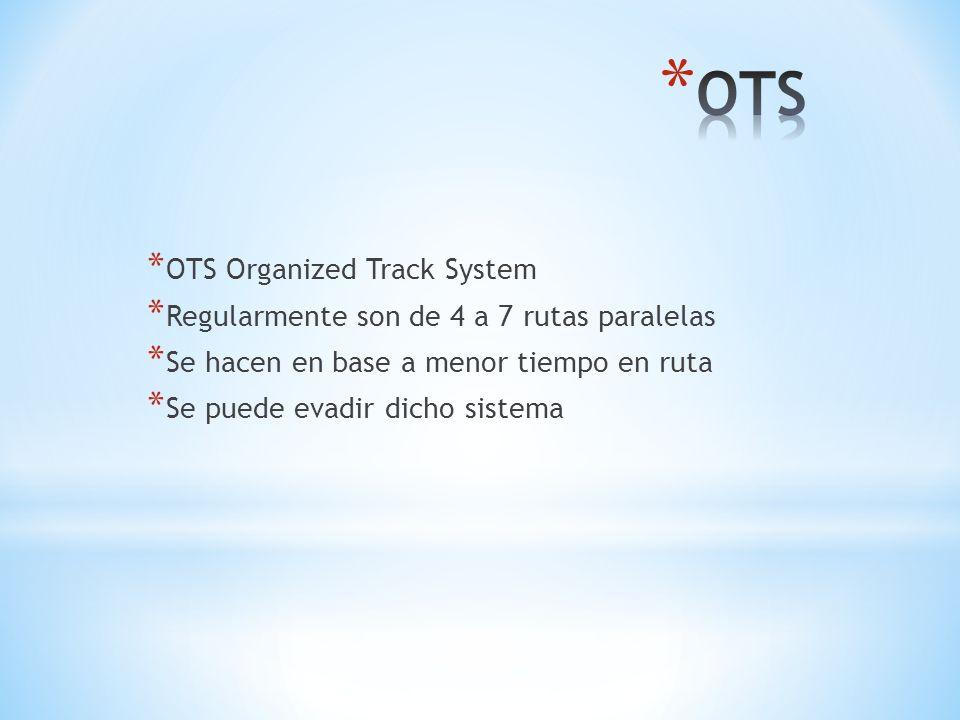 * OTS Organized Track System * Regularmente son de 4 a 7 rutas paralelas * Se hacen en base a menor tiempo en ruta * Se puede evadir dicho sistema