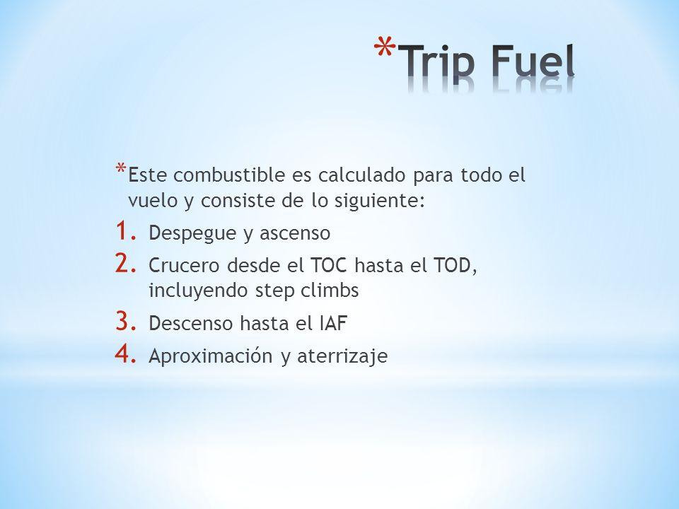 * Este combustible es calculado para todo el vuelo y consiste de lo siguiente: 1. Despegue y ascenso 2. Crucero desde el TOC hasta el TOD, incluyendo