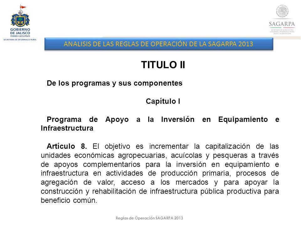 Reglas de Operación SAGARPA 2013 ANALISIS DE LAS REGLAS DE OPERACIÓN DE LA SAGARPA 2013 TITULO II De los programas y sus componentes Capítulo I Programa de Apoyo a la Inversión en Equipamiento e Infraestructura Artículo 8.