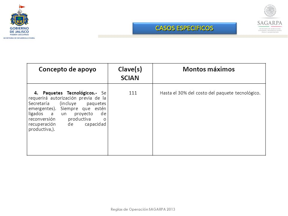 Reglas de Operación SAGARPA 2013 CASOS ESPECIFICOS Concepto de apoyoClave(s) SCIAN Montos máximos 4.