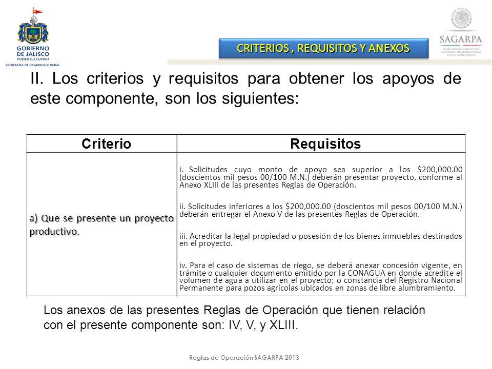 Reglas de Operación SAGARPA 2013 CRITERIOS, REQUISITOS Y ANEXOS II.