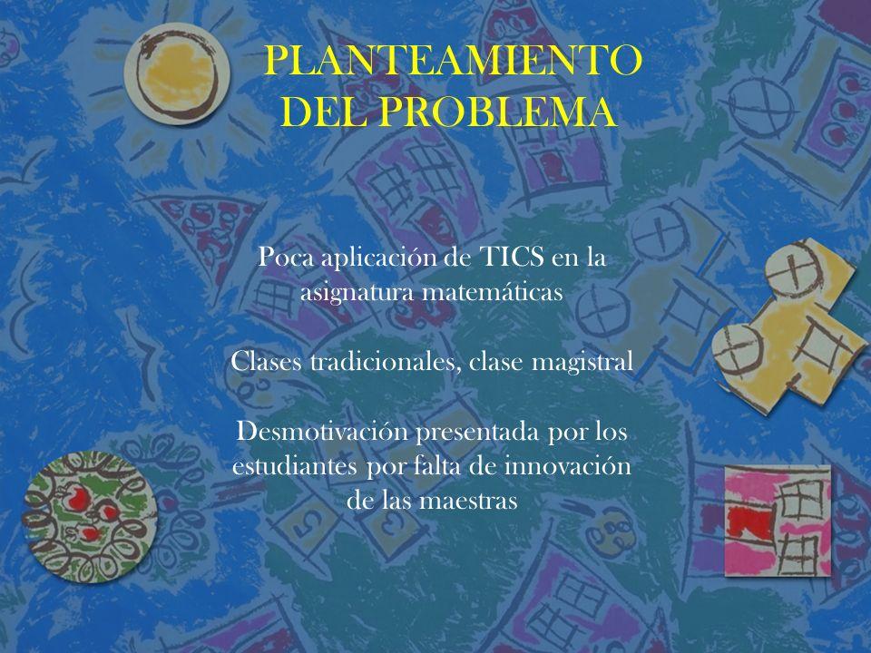 PLANTEAMIENTO DEL PROBLEMA Poca aplicación de TICS en la asignatura matemáticas Clases tradicionales, clase magistral Desmotivación presentada por los estudiantes por falta de innovación de las maestras