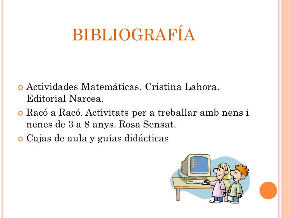 BIBLIOGRAFÍA Actividades Matemáticas. Cristina Lahora. Editorial Narcea. Racó a Racó. Activitats per a treballar amb nens i nenes de 3 a 8 anys. Rosa