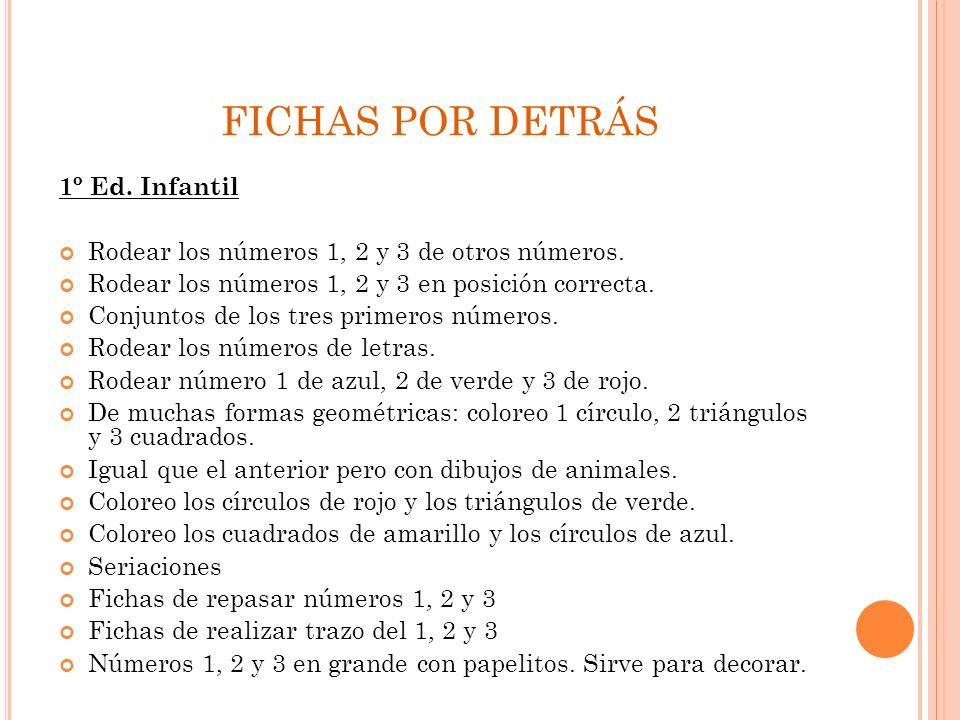 FICHAS POR DETRÁS 1º Ed. Infantil Rodear los números 1, 2 y 3 de otros números. Rodear los números 1, 2 y 3 en posición correcta. Conjuntos de los tre