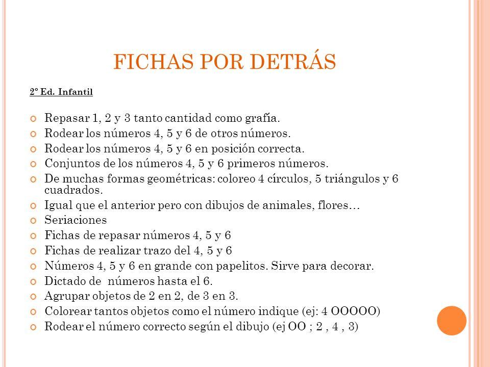 FICHAS POR DETRÁS 2º Ed. Infantil Repasar 1, 2 y 3 tanto cantidad como grafía. Rodear los números 4, 5 y 6 de otros números. Rodear los números 4, 5 y