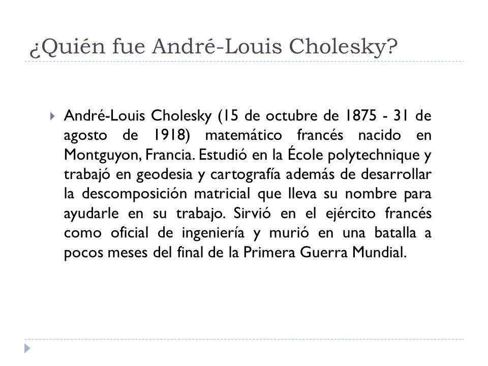 ¿Quién fue André-Louis Cholesky? André-Louis Cholesky (15 de octubre de 1875 - 31 de agosto de 1918) matemático francés nacido en Montguyon, Francia.