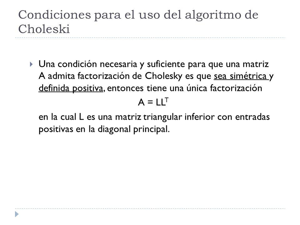 Usamos: ENTRADA: Matriz A = (a ij ) nxn Vector b i de términos independientes CÁLCULOS: Matriz L = (l ij ) nxn Donde L T = matriz triangular superior de L Vector y i (Para el cálculo de las soluciones) SALIDA: Vector x i (Soluciones del sistema) Si (!isSquare(A)) SALIR(La matriz A no es cuadrada ); Si (!isSymmetric(A)) SALIR(La matriz A no es simétrica );