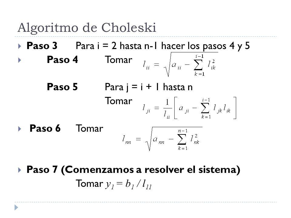 Algoritmo de Choleski Paso 3Para i = 2 hasta n-1 hacer los pasos 4 y 5 Paso 4Tomar Paso 5Para j = i + 1 hasta n Tomar Paso 6Tomar Paso 7 (Comenzamos a