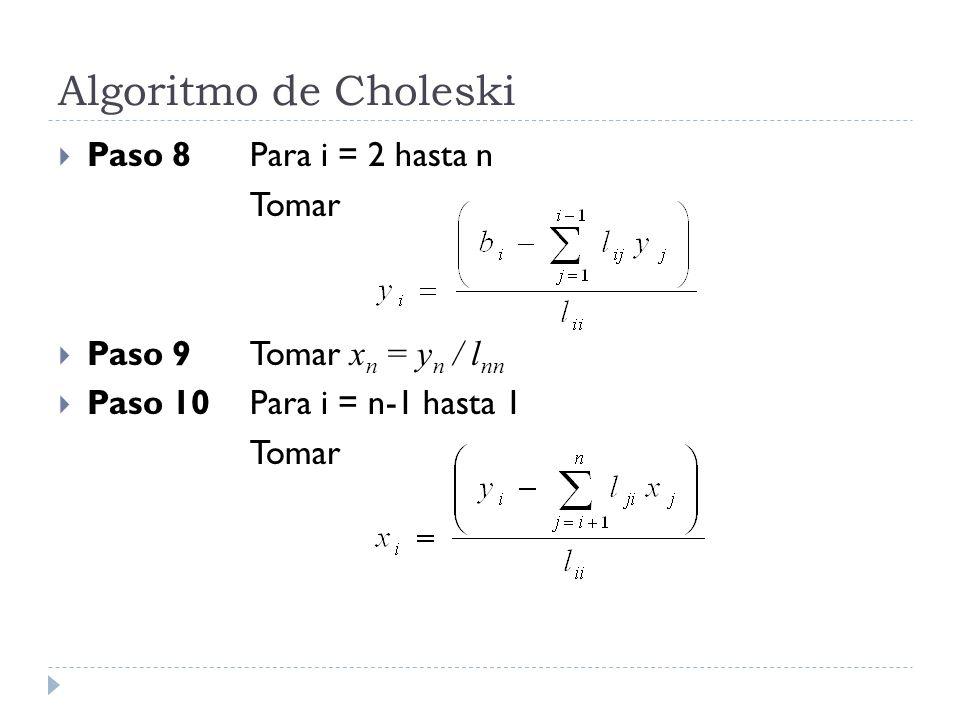 Algoritmo de Choleski Paso 8Para i = 2 hasta n Tomar Paso 9Tomar x n = y n / l nn Paso 10Para i = n-1 hasta 1 Tomar