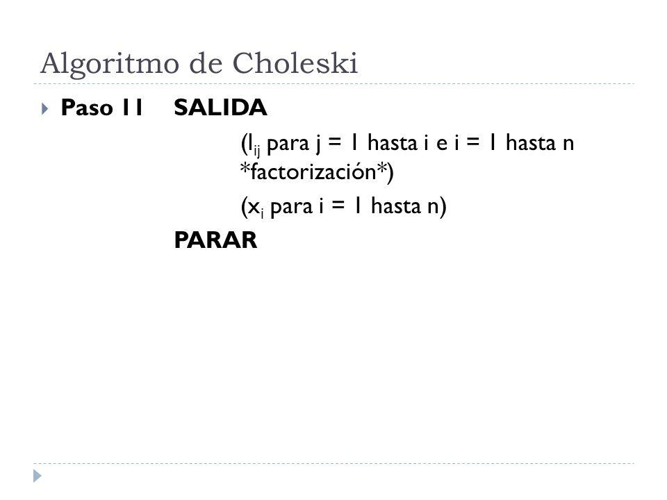 Algoritmo de Choleski Paso 11SALIDA (l ij para j = 1 hasta i e i = 1 hasta n *factorización*) (x i para i = 1 hasta n) PARAR