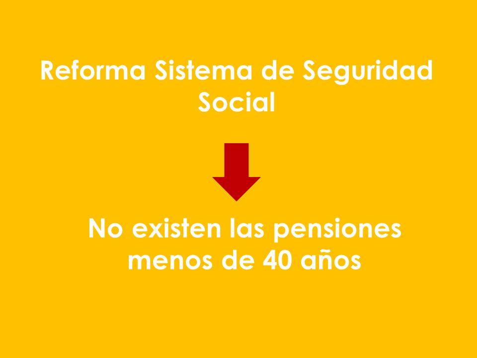 Reforma Sistema de Seguridad Social No existen las pensiones menos de 40 años