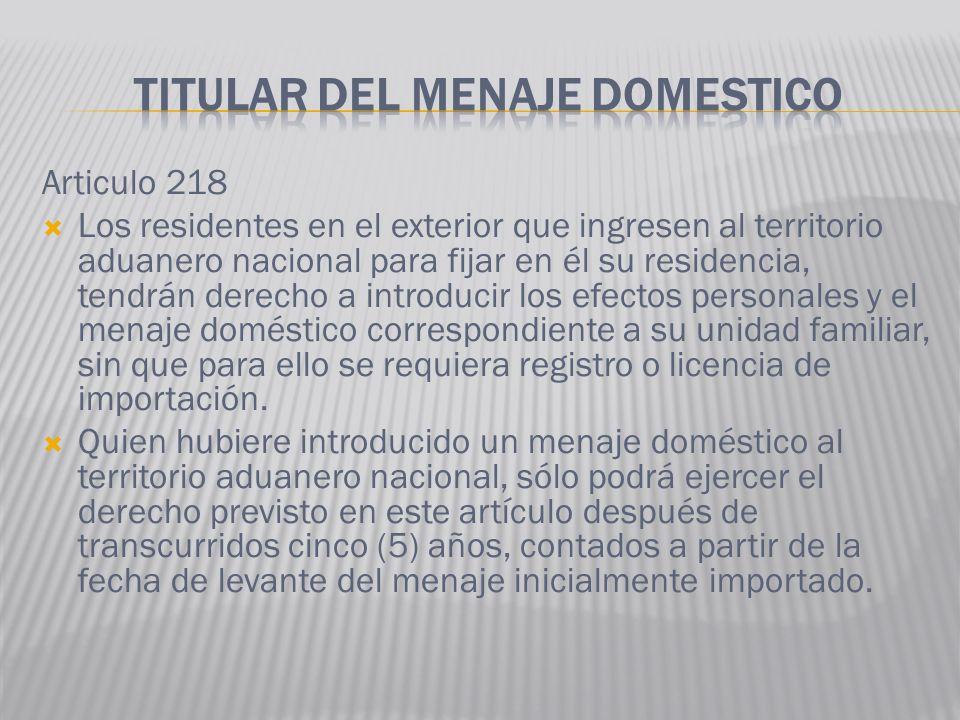 Articulo 218 Los residentes en el exterior que ingresen al territorio aduanero nacional para fijar en él su residencia, tendrán derecho a introducir l