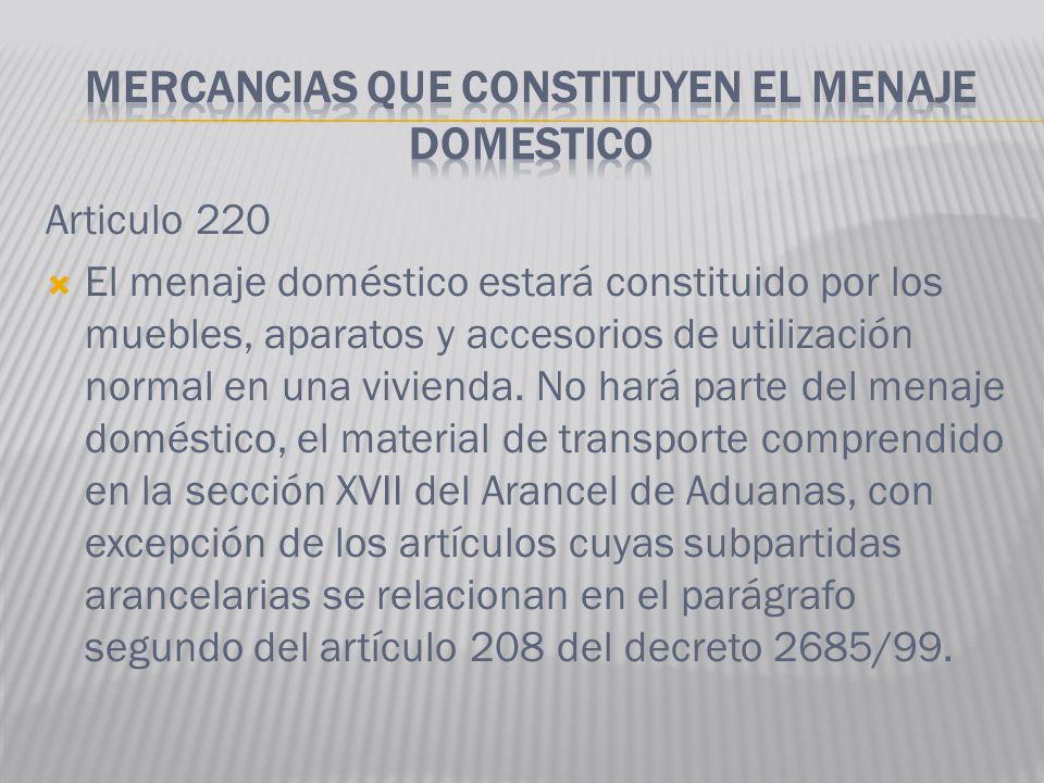 Articulo 220 El menaje doméstico estará constituido por los muebles, aparatos y accesorios de utilización normal en una vivienda. No hará parte del me