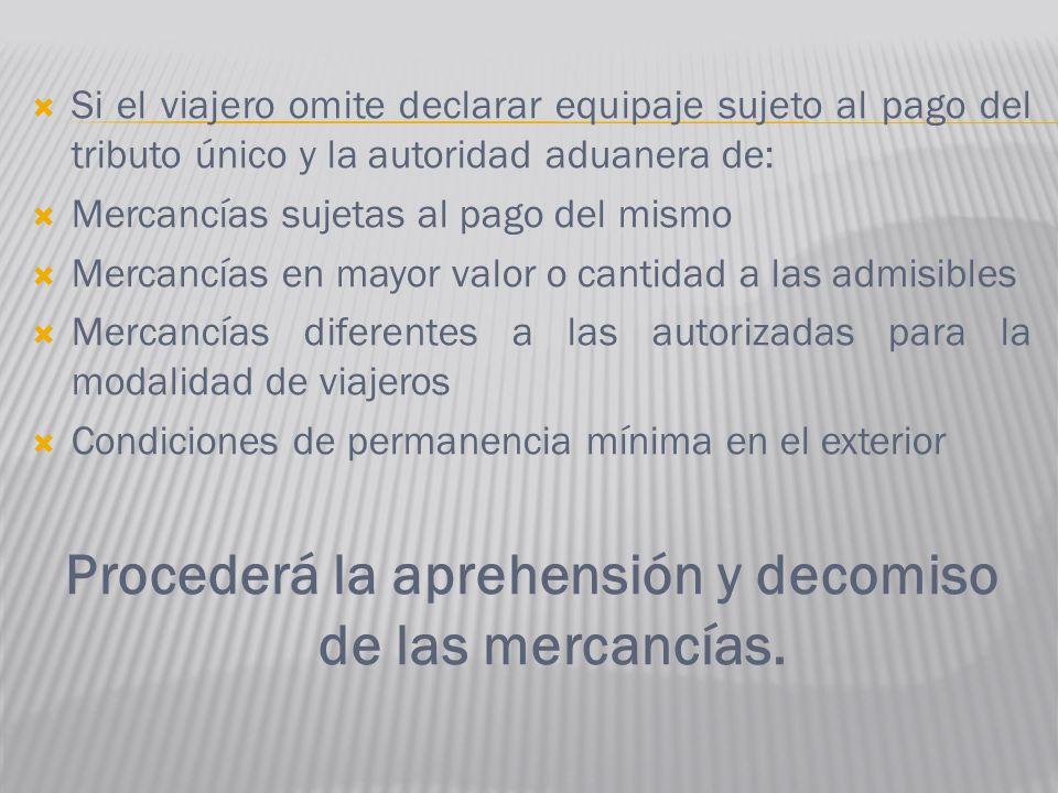 Si el viajero omite declarar equipaje sujeto al pago del tributo único y la autoridad aduanera de: Mercancías sujetas al pago del mismo Mercancías en
