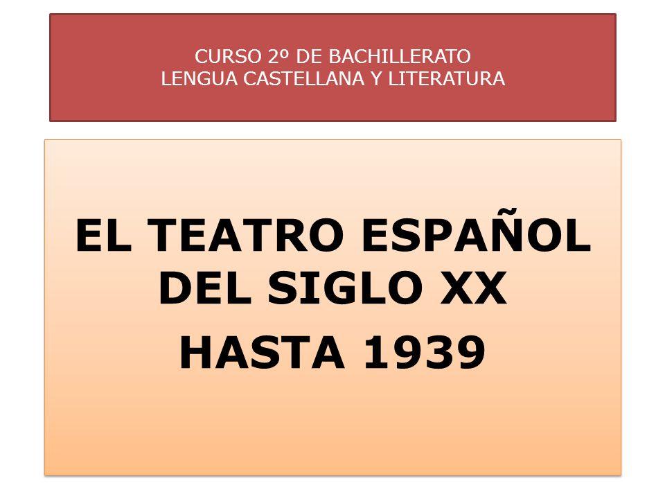 CURSO 2º DE BACHILLERATO LENGUA CASTELLANA Y LITERATURA EL TEATRO ESPAÑOL DEL SIGLO XX HASTA 1939 EL TEATRO ESPAÑOL DEL SIGLO XX HASTA 1939