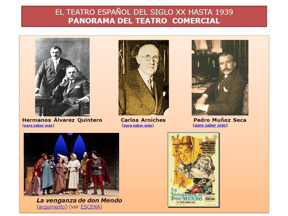 EL TEATRO ESPAÑOL DEL SIGLO XX HASTA 1939 PANORAMA DEL TEATRO COMERCIAL Hermanos Álvarez Quintero Carlos Arniches Pedro Muñoz Seca (para saber más) (p