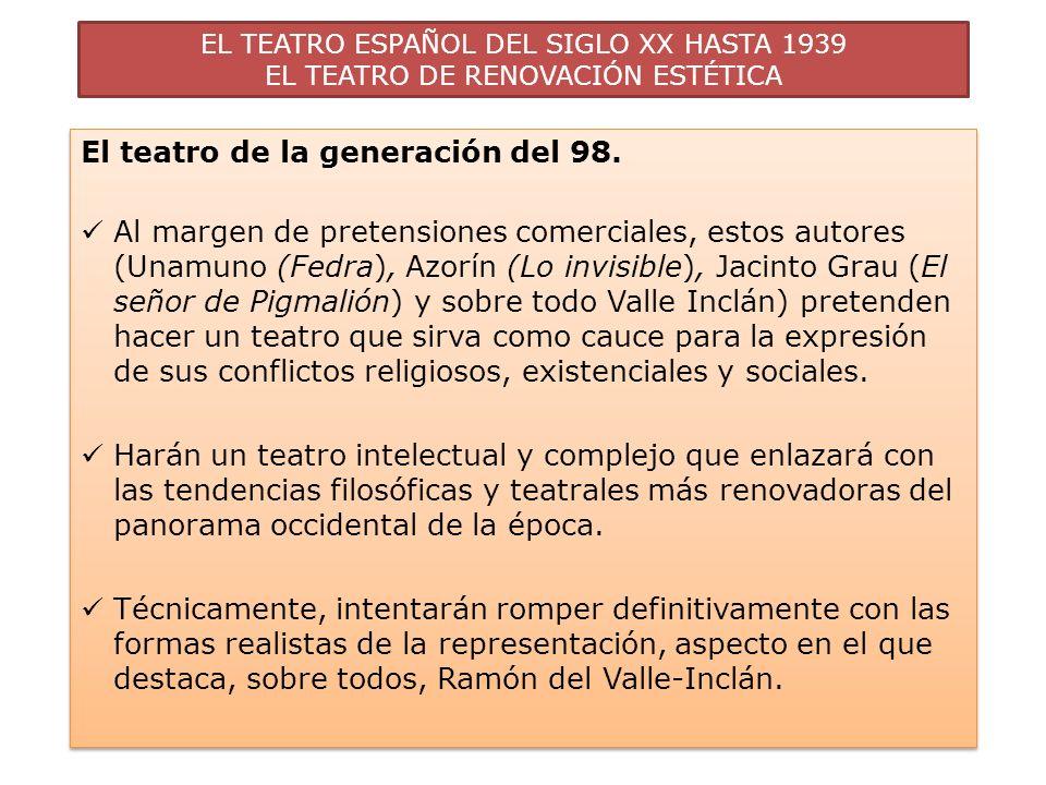 EL TEATRO ESPAÑOL DEL SIGLO XX HASTA 1939 EL TEATRO DE RENOVACIÓN ESTÉTICA El teatro de la generación del 98. Al margen de pretensiones comerciales, e