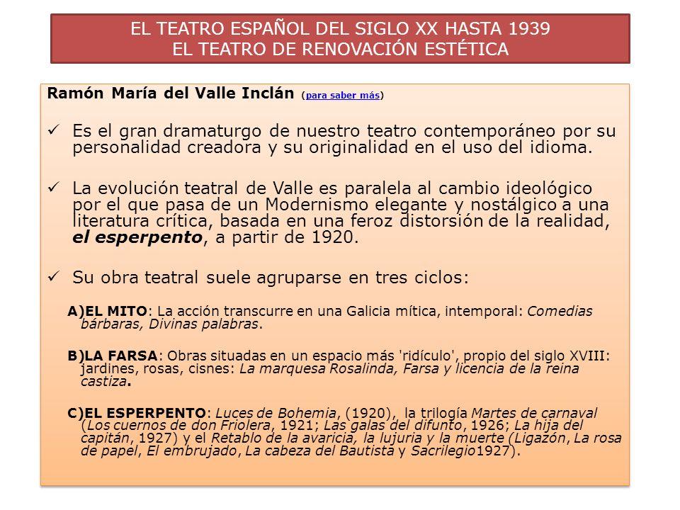 EL TEATRO ESPAÑOL DEL SIGLO XX HASTA 1939 EL TEATRO DE RENOVACIÓN ESTÉTICA Ramón María del Valle Inclán (para saber más)para saber más Es el gran dram