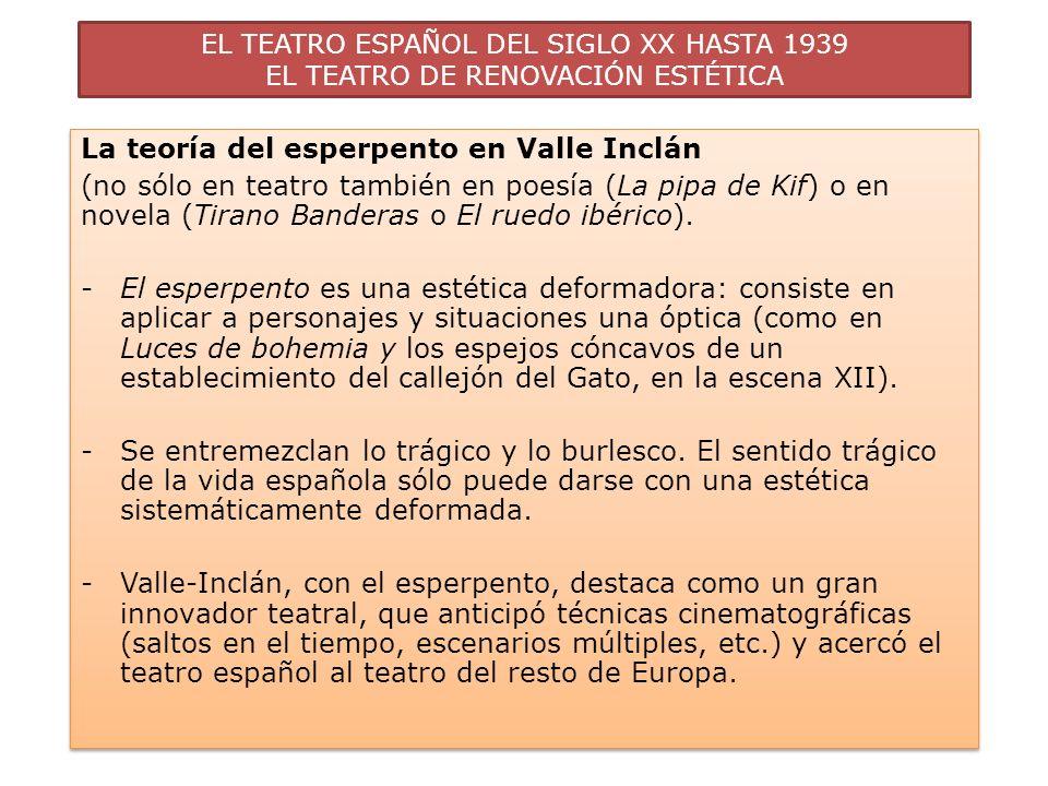 EL TEATRO ESPAÑOL DEL SIGLO XX HASTA 1939 EL TEATRO DE RENOVACIÓN ESTÉTICA La teoría del esperpento en Valle Inclán (no sólo en teatro también en poes