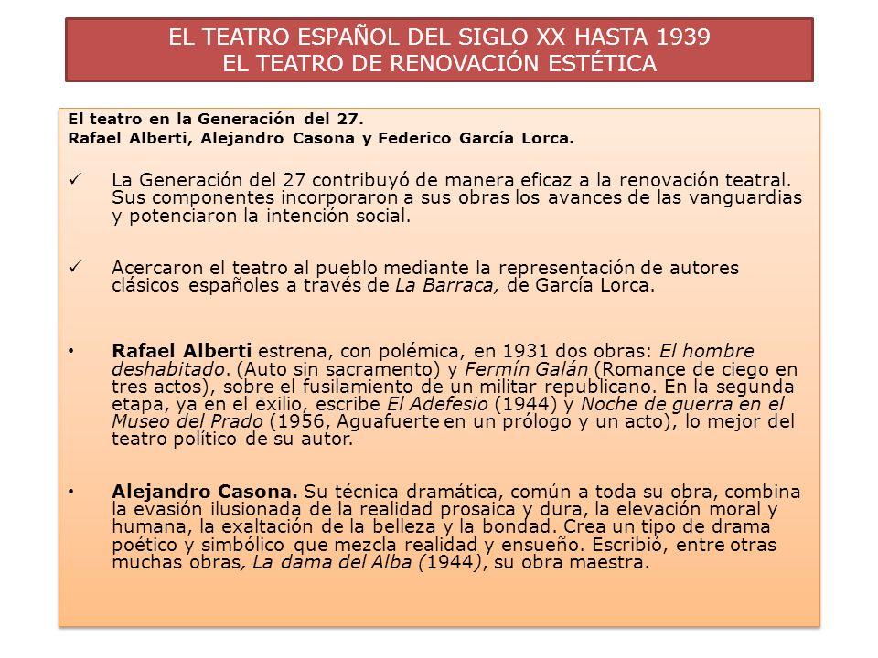 EL TEATRO ESPAÑOL DEL SIGLO XX HASTA 1939 EL TEATRO DE RENOVACIÓN ESTÉTICA El teatro en la Generación del 27. Rafael Alberti, Alejandro Casona y Feder